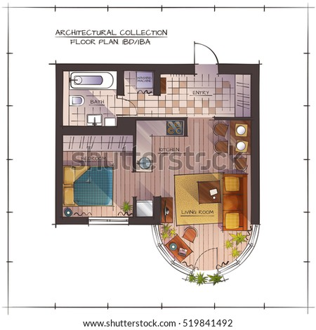 Architectural Color Floor Plan. One Bedroom Studio Apartment. Top View  Handdrawn Rendering Style