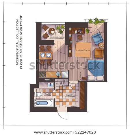 Architectural Color Floor Plan. One Bedroom Studio Apartment. Top View.  Handdrawn Rendering Style