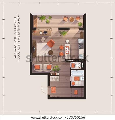 Architectural Color Floor Plan.Studio Apartment - stock vector