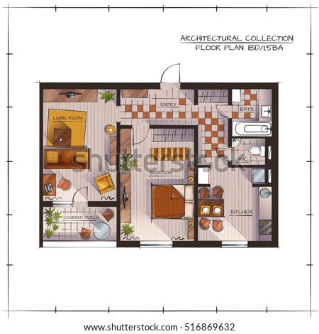 Architectural Color Floor Plan. Studio Apartment. Handdrawn Rendering Style