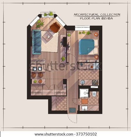 Architectural Color Floor Plan.Studio Apartment With One Bedroom