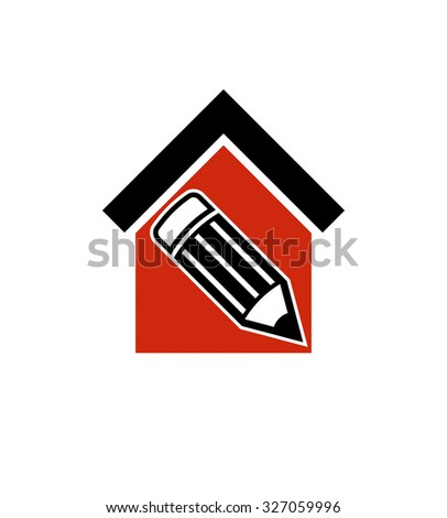 Architectural design conceptual symbol, house vector icon with edit pencil. Construction project and engineer graphic element.   - stock vector