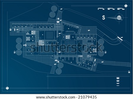 architectural draw with technical details of industry building - vector - stock vector