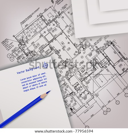 architectural drawing background - stock vector