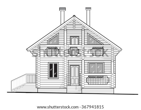 Architectural Drawing Cottage House Of Logs