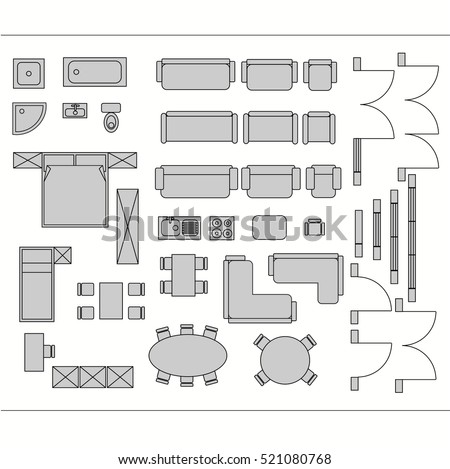 Architectural Drawing For Planning Construction And Home Improvement.  Symbols Used Furniture And Architecture Plans Icons