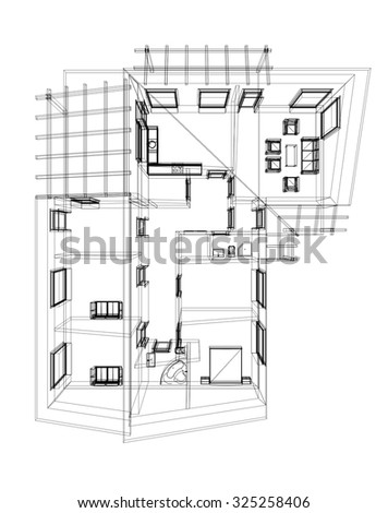 Cad Architectural Five Story Building Section Stock Illustration
