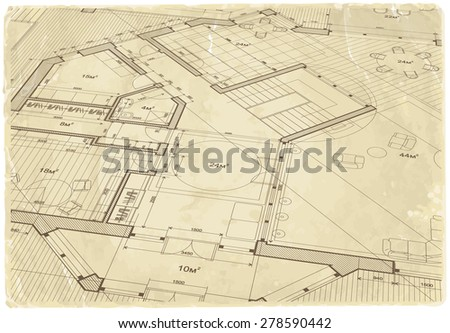 architectural drawing House Plan on the texture of the old sheet of paper / vector illustration / eps10 - stock vector