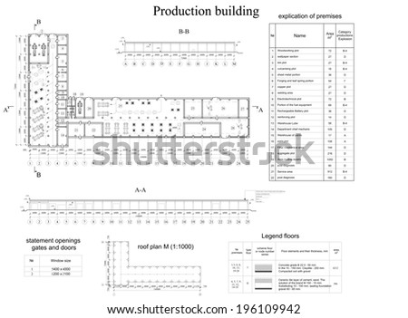 Architectural drawing of vehicle fleet. Industrial building. Vector format - stock vector