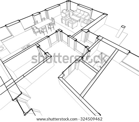 Architectural drawings. Linear vector background - stock vector