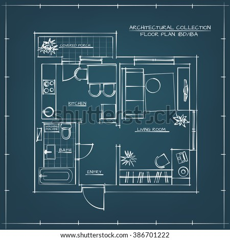Architectural Hand Drawn Floor Plan.Blueprint. One Bedroom Apartment - stock vector