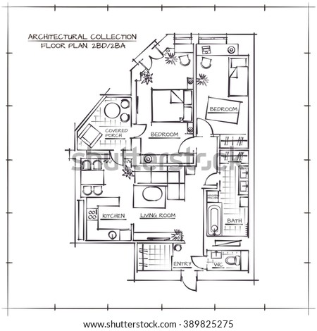 architectural hand drawn floor plan bedrooms 389825275 shutterstock. Black Bedroom Furniture Sets. Home Design Ideas
