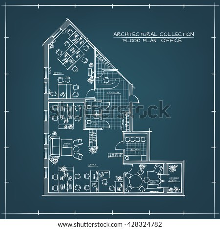 Office floor plan stock images royalty free images vectors architectural handdrawn floor plan of business office workspace blueprint malvernweather Choice Image