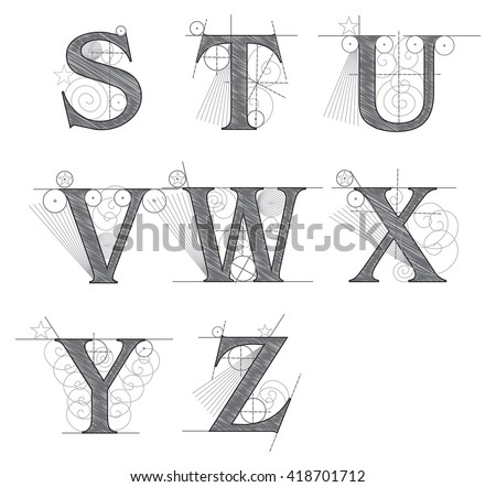architectural letters for design vector illustration