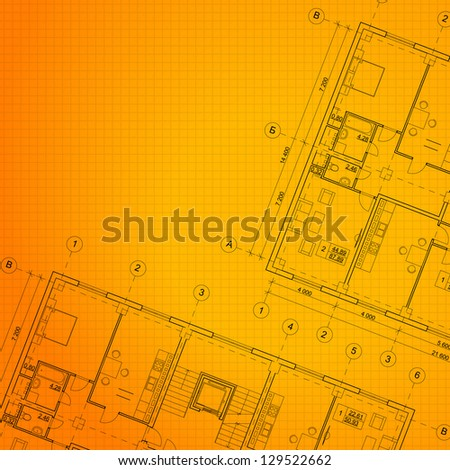 Architectural orange background. Vector illustration, eps10, contains transparencies, gradients and effects. - stock vector