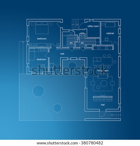 Architectural Plan Of Modern House Vector Blueprint
