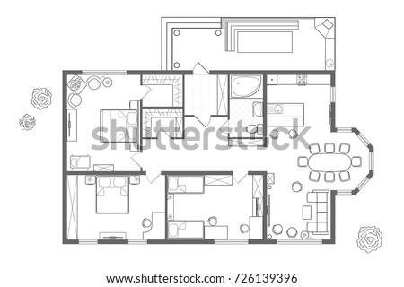 Floor plan furniture stock images royalty free images for Architectural plan storage
