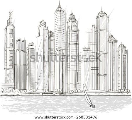 Architectural sketch, drill, building design, City - stock vector