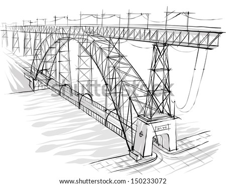 Architectural sketch. Idea. Drawing. City. - stock vector