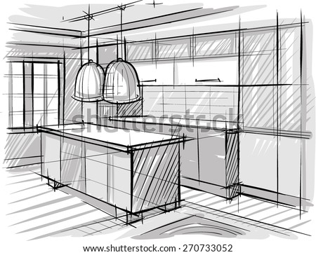 Architectural sketch of kitchen. - stock vector