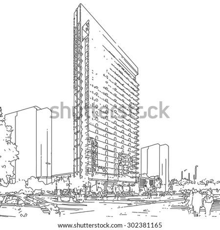 modern architecture sketch. Unique Sketch Architectural Sketch Of Modern Building With Modern Architecture Sketch