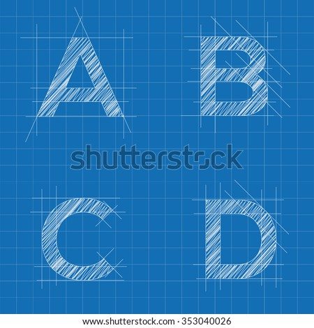 architectural sketched letters - stock vector