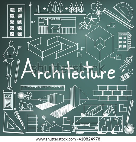 Architecture architect design profession building exterior vector de architecture and architect design profession and building exterior blueprint handwriting doodle tool sign and symbol in malvernweather Images