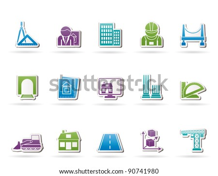 architecture and construction icons - vector icon set - stock vector
