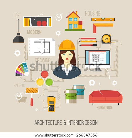 Architecture and interior design concept with women architect and architecture icons - stock vector