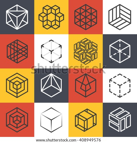 Architecture and interior studios or construction company line logo templates with 3D isometric cubes. Logo company cube,  symbol cube company, line cube emblem, isometric cube vector illustration - stock vector