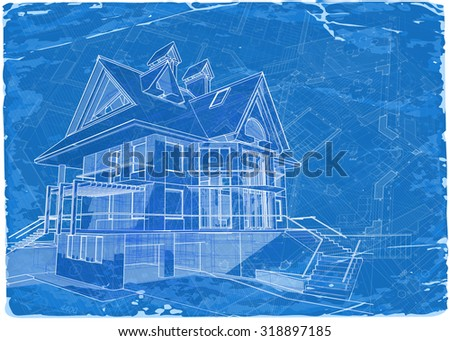 Architecture blueprint 3 d house vector illustration stock vector architecture blueprint 3d house vector illustration eps10 malvernweather Image collections