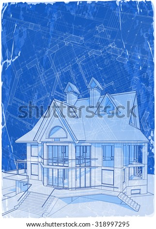 architecture blueprints 3d. Simple Architecture Architecture Blueprint  3d House  Vector Illustration Eps10 And Architecture Blueprints
