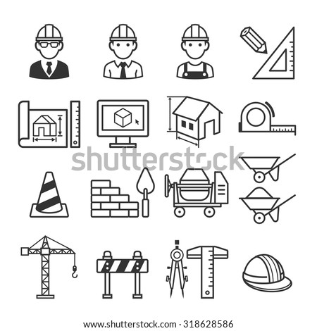 Architecture Construction Building icon set. Vector illustrations. - stock vector