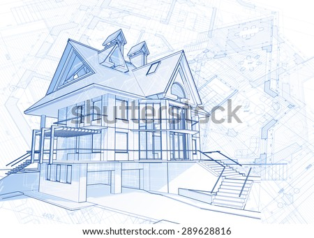 Architecture design: blueprint house - vector illustration - stock vector