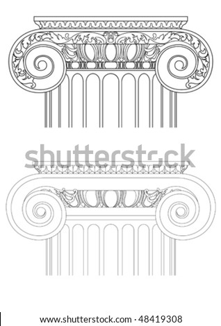architecture detail , vector classic column - stock vector