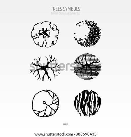 architecture drawing landscape design elements different tree symbols in a top view black - Architecture Drawing Of Trees