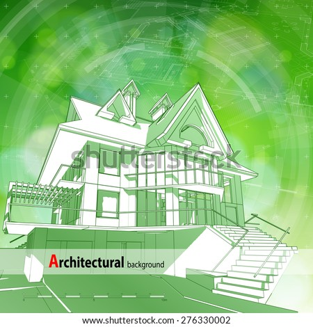 Architecture ecology design: blueprint 3d house, plan, radial HUD elements & green bokeh abstract light background / vector illustration / eps10 - stock vector