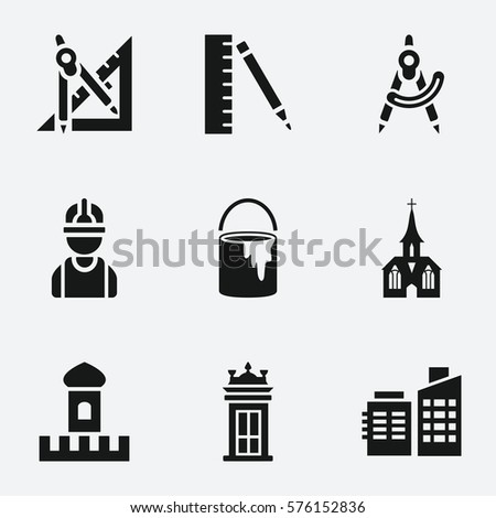 Architecture icon. Set of 9 Architecture filled icons such as paint bucket, ruler and compass, ruler and pencil, building, construction worker, church, castle