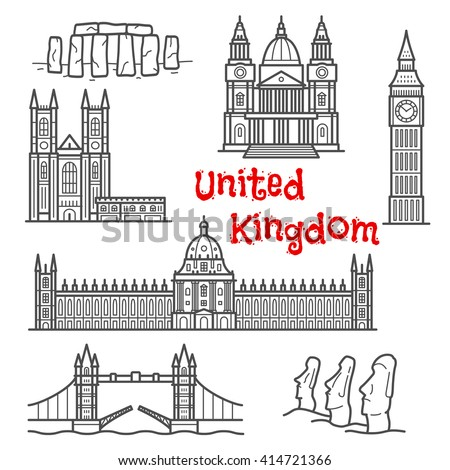 Architecture landmarks and historical attractions isolated sketch icons with Big Ben, Tower Bridge, Stonehenge, moai stone figures, Windsor castle, St. Paul cathedral and Westminster palace - stock vector
