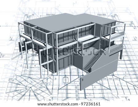 Architecture model house with blueprint. Vector - stock vector