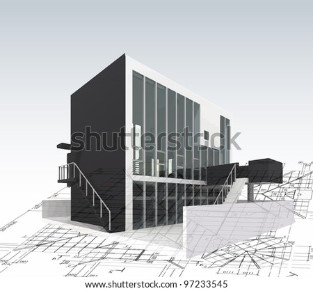 Architecture model house with plan and blueprints. Vector - stock vector