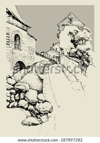 Architecture of old town, hand drawn sketch, vector illustration - stock vector