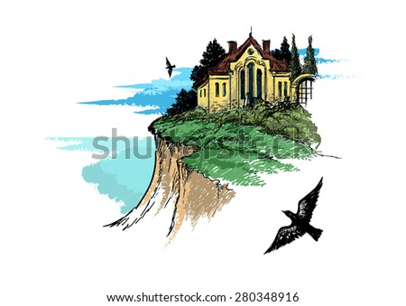 architecture on a high hill - stock vector