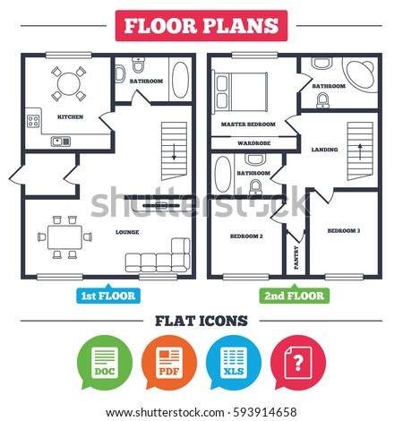 architecture plan furniture house floor plan stock vector 593914658