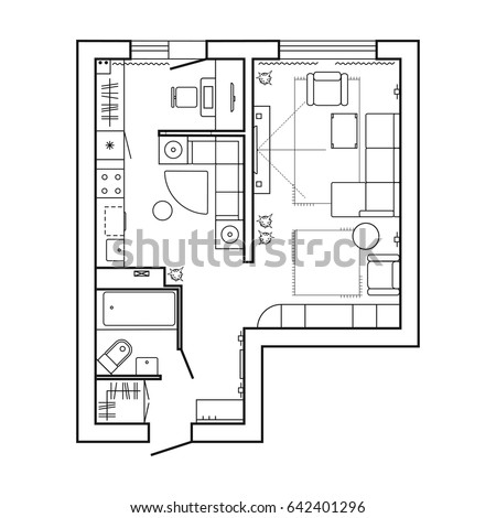 Architecture plan furniture house floor plan stock vector for Bathroom designs top view