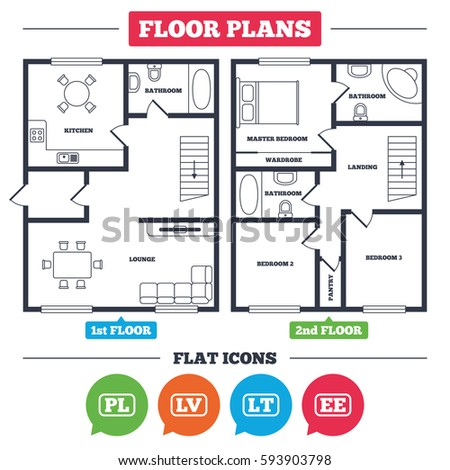 Architecture Plan With Furniture House Floor Plan Language Icons Pl Lv