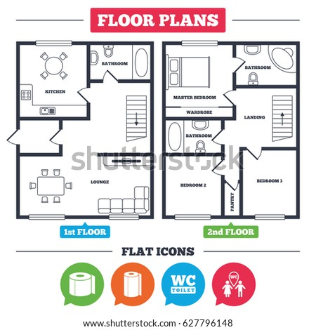 Architecture Plan With Furniture House Floor Toilet Paper Icons Gents And Ladies