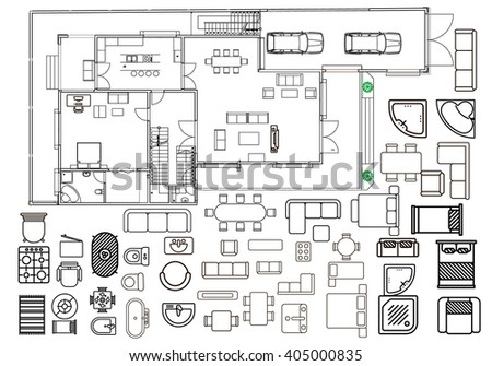 Architecture Plan Furniture Top View Stock Vector 405000835 ...
