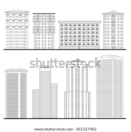 Architecture set. Outline sketch drawing of building. City downtown structure collection - stock vector