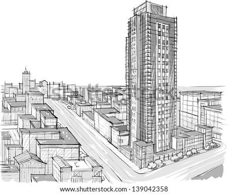 Architecture Sketch Stock Vektorgrafik 139042358